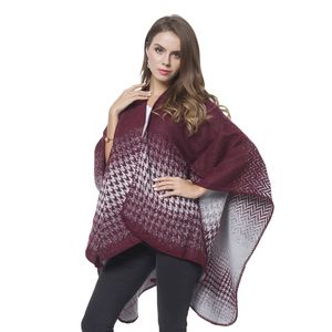 Burgundy and Gray Houndstooth and Chevron Pattern Reversable Cozy Shawl Wrap(One Size)