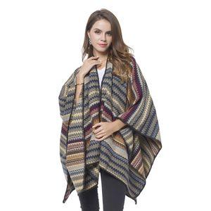 Marsala and Multi Color 70% Acrylic & 30% Polyester Chevron Pattern Cozy Ruana (One Size)