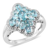 Madagascar Paraiba Apatite Platinum Over Sterling Silver Ring (Size 6.0) TGW 2.20 cts.