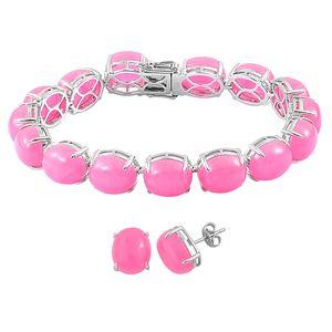 Burmese Pink Jade Sterling Silver Tennis Bracelet (8.00 In) and Stud Earrings TGW 111.84 cts.