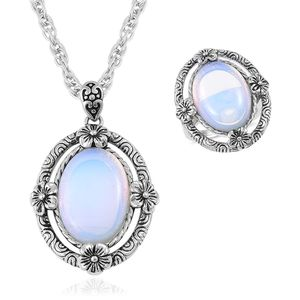 One Day TLV Opalite Black Oxidized Stainless Steel Ring (Size 8) and Pendant With Chain (20 in) TGW 15.00 cts.
