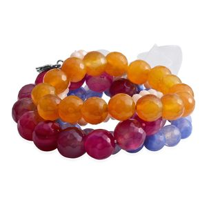 Multi Color Agate Enhanced, Glass Silvertone Set of 4 Bracelet TGW 606.10 cts.