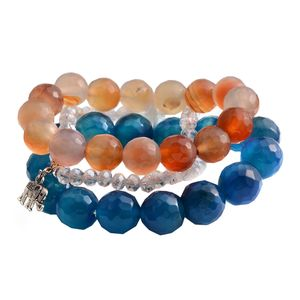 Multi Color Agate, White Glass Silvertone Set of 4 Bracelets (Stretchable) TGW 608.20 cts.