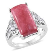 Norwegian Thulite, White Topaz Platinum Over Sterling Silver Ring (Size 7.0) TGW 15.23 cts.