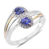 Premium AAA Tanzanite, Cambodian Zircon 14K YG and Platinum Over Sterling Silver Bypass Ring (Size 8.0) TGW 0.98 cts.