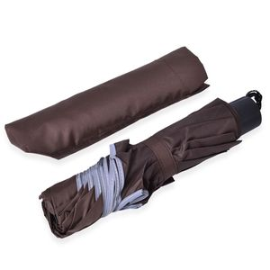 Brown Three Fold Umbrella with Handle (10 in)
