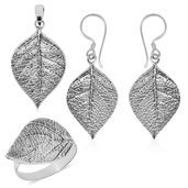 Doorbuster Bali Legacy Collection Sterling Silver Birch Leaf Earrings, Ring (Size 8) and Pendant without Chain (15 g)