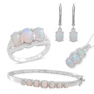 One Time Only Ethiopian Welo Opal Sterling Silver Bangle (7.50 in), Lever Back Solitaire Earrings, Trilogy Split Ring (Size 11) and Pendant With Chain (18 in) TGW 5.83 cts.