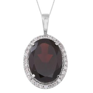 Mozambique Garnet, Cambodian White Zircon Sterling Silver Halo Pendant With Chain (18 in) TGW 11.00 cts.