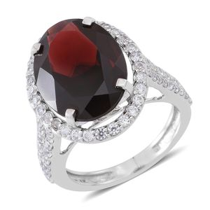 Mozambique Garnet, Cambodian White Zircon Sterling Silver Mounted Halo Ring (Size 5.0) TGW 12.00 cts.