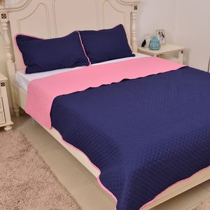 Pink and Navy Microfiber Coverlet (90x94 in) and Sham (20x26 in)