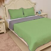 Green and Gray Microfiber Coverlet (108x94 in) and Sham (20x36 in)