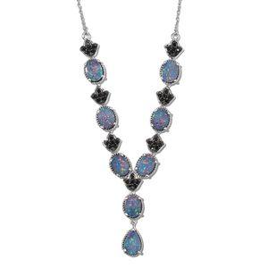 Australian Boulder Opal, Thai Black Spinel Platinum Over Sterling Silver Necklace (18 in) TGW 8.19 cts.