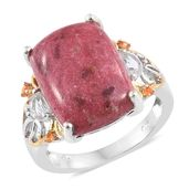 Norwegian Thulite, White Topaz, Jalisco Fire Opal 14K YG and Platinum Over Sterling Silver Ring (Size 7.0) TGW 17.91 cts.