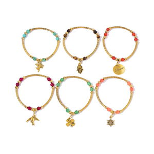 Multi Gemstone Goldtone Set of 6 Bracelet TGW 60.00 cts.
