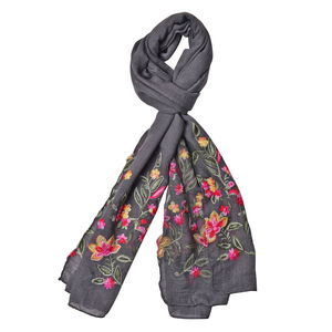 Gray Floral Embroidery 100% Polyester Scarf (70x28 in)