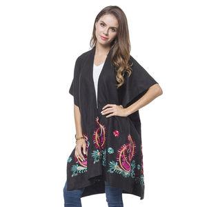 Black Embroidery 100% Polyester Kimono (35.44x37.41 in)