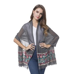 Gray 100% Polyester Leaf Pattern Embroidered Scarf (70x28 in)