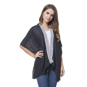 Black 100% Polyester Lace Embroidered Kimono (One Size)
