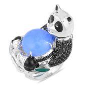Burmese Blue Jade, Thai Black Spinel Black Rhodium Sterling Silver Panda Ring (Size 11.0) TGW 15.38 cts.