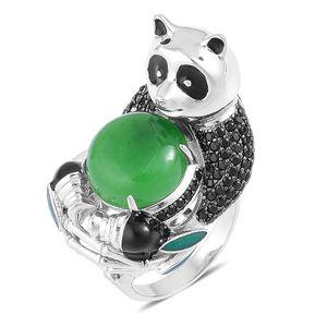 Burmese Green Jade, Thai Black Spinel Black Rhodium Sterling Silver Panda Ring (Size 7.0) TGW 15.38 cts.