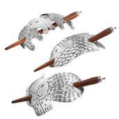 Set of 3 Silvertone Animal Pattern Hair Clips with Wooden Stick (6x1.5 in)
