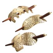 Set of 3 Goldtone Animal Pattern Hair Clips with Wooden Stick (6x1.5 in)