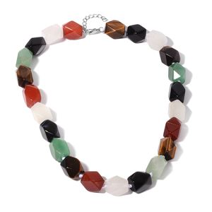 Multi Gemstone Beads Silvertone Necklace (18-20 in) TGW 566.00 cts.