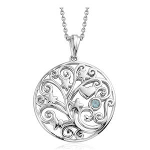 KARIS Collection - Mint Apatite Platinum Bond Brass Pendant With Stainless Steel Chain (20 in) TGW 0.15 cts.