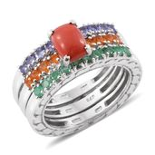 Oregon Peach Opal, Multi Gemstone Platinum Over Sterling Silver Stackable Ring (Size 9.0) TGW 3.27 cts.