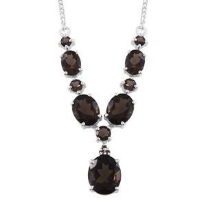Brazilian Smoky Quartz Platinum Over Sterling Silver Necklace (18 in) TGW 12.70 cts.