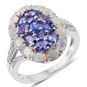 Premium AAA Tanzanite, Ethiopian Welo Opal, Cambodian Zircon Platinum Over Sterling Silver Ring (Size 7.0) TGW 3.68 cts.