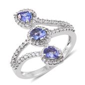 Premium AAA Tanzanite, Cambodian Zircon Platinum Over Sterling Silver Bypass Ring (Size 6.0) TGW 1.76 cts.