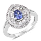 Premium AAA Tanzanite, White Topaz Platinum Over Sterling Silver Ring (Size 8.0) TGW 1.82 cts.