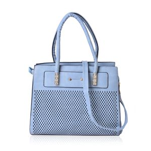 Slate Blue Laser Cut Faux Leather Tote Bag with Removable Strap and Standing Studs (13.5x5x11 in)