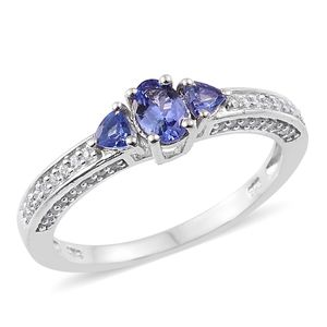 Premium AAA Tanzanite, Cambodian Zircon Platinum Over Sterling Silver Ring (Size 7.0) TGW 1.06 cts.