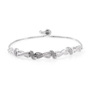 Diamond Platinum Over Sterling Silver Magic Ball Bracelet (Adjustable) TDiaWt 0.75 cts, TGW 0.75 cts.