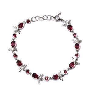 Stainless Steel Bracelet (7.50 In) Made with SWAROVSKI Ruby Crystal TGW 3.88 cts.