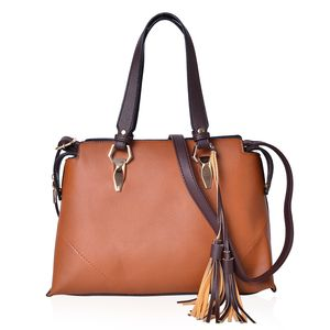 Camel and Dark Brown Faux Leather Satchel Bag with Extra Zipper and Tassels (13.6x5.2x9.6 in)