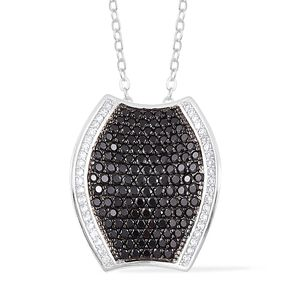 Thai Black Spinel, White Zircon Black Rhodium Sterling Silver Concave Cluster Pendant With Chain (18 in) TGW 3.85 cts.
