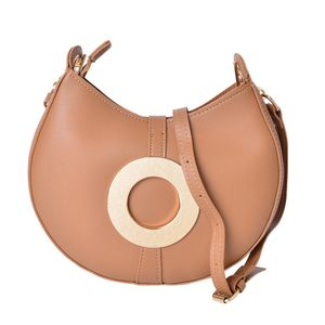 Camel Faux Leather Clutch or Crossbody Saddle Bag with Removable Toggle Clasp Belt Inspired Strap (9x2x9 in)
