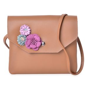 Caramel Faux Leather 3D Floral Crossbody Bag (7.5x6.5 in)