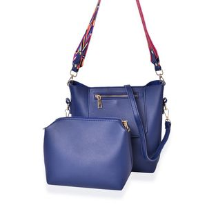 Navy Faux Leather Set of 2 Flap Over Shoulder Bag (10x4x10 in) and Matching Pouch (9x8 in)