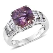 Asscher Cut Anahi Ametrine, White Topaz Platinum Over Sterling Silver Ring (Size 7.0) TGW 5.70 cts.