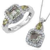 Asscher Cut Green Amethyst, Hebei Peridot, Cambodian Zircon Platinum Over Sterling Silver Ring (Size 6) and Pendant With Chain (20 in) TGW 5.90 cts.