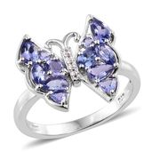 Premium AAA Tanzanite, Cambodian Zircon Platinum Over Sterling Silver Butterfly Ring (Size 9.0) TGW 1.93 cts.