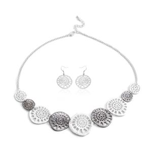 Silvertone and Dark Silvertone Earrings and Necklace (17-19 in)