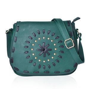 Santa Fe Style Green Faux Leather Studded Crossbody Bag (10x4x8)