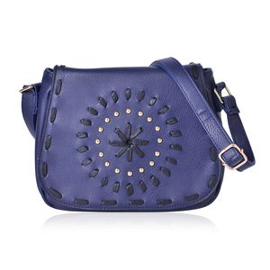 Santa Fe Style Navy Faux Leather Studded Crossbody Bag (10x4x8)