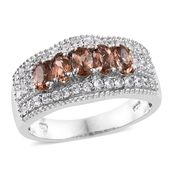 Jenipapo Andalusite, Cambodian Zircon Platinum Over Sterling Silver Ring (Size 7.0) TGW 1.85 cts.